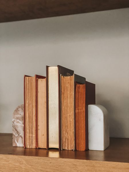 Neutral Shelf decor - marble and stone book ends from Target  #LTKSeasonal #LTKunder50 #LTKhome
