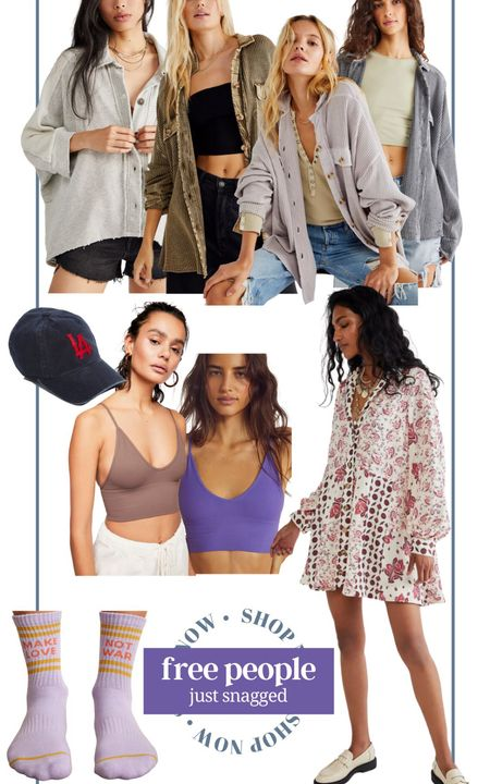 Just snagged from free people! Free people dress oversized shacket free people jacket oversized button down shirt brami seamless bra sports bra athleisure seamless tank crop tank graphic socks LA dad hat baseball cap long sleeve dress boho dress wedding guest dress gift for her fall fashion casual women's fashion pumpkin picking outfit   #LTKfit #LTKstyletip #LTKunder100