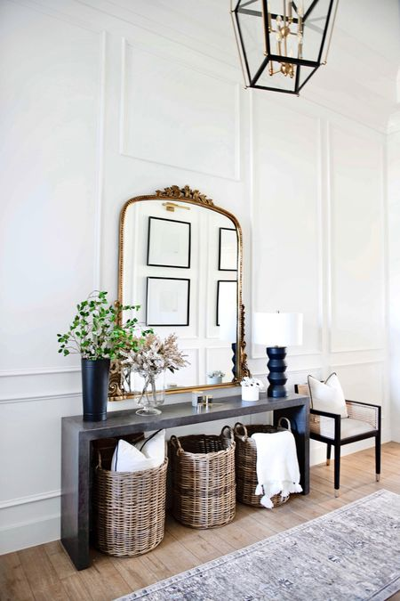 My entryway mirror is on sale and select colors and sizes! Mine is the brass 5 foot!  Entryway Decor, fall Decor, table lamp, black lamp, modern Decor, Modern Lamps, Target Home , Target Finds , Amazon home, Amazon Finds, accent chair, side chair, fall floral, fall stems, fall entryway, baskets, flowers, neutral rug, runner,  #LTKSeasonal #LTKstyletip #LTKhome