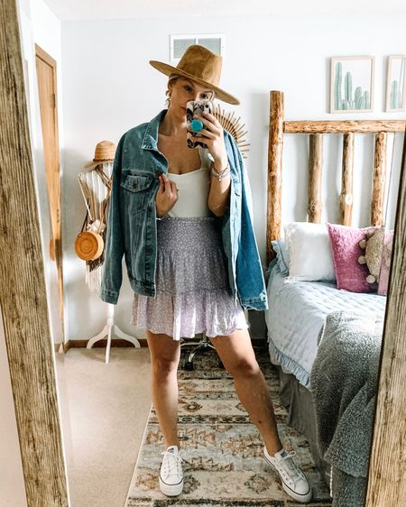 Big lilac MOOD lately. 🤍🔆 . But came you blame me? 😍 Love a fun little girly skirt paired with some sneakers, a Jean jacket, and a fun hat. Summer, WYA?!  . You can shop my looks by doing the following: 🔅Download the free LIKEtoKNOW.it app . 🔅Screenshot this picture OR 🔅Click the link in my bio OR 🔅Search @blondegypsystyle in the app  http://liketk.it/3fbiW #liketkit @liketoknow.it