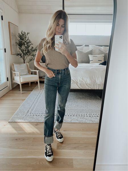 Madewell straight leg jeans and pocket tee