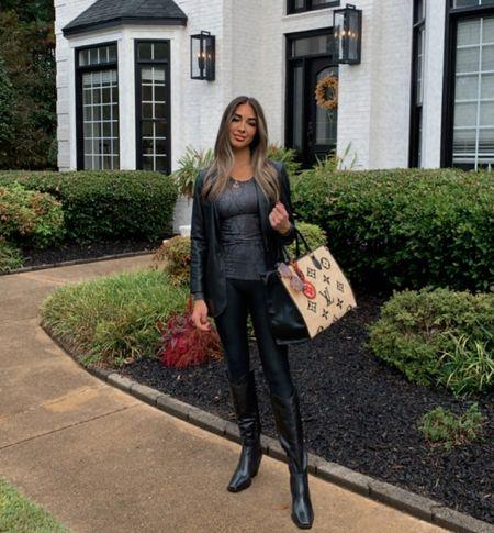 Leather weather is here!! Loving my Leather boyfriend blazer with stretchy leather compression leggings!  . . .   #LTKsalealert #LTKstyletip #LTKworkwear