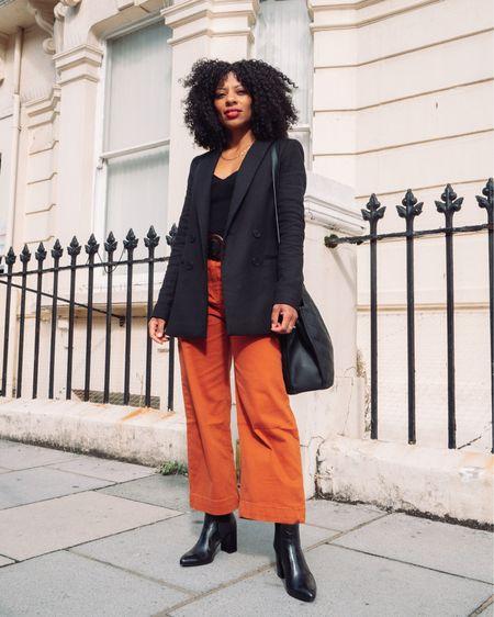 Orange petite cropped jeans,  black blazer and black ankle boots. Autumn look.   #LTKshoecrush #LTKeurope #LTKSeasonal