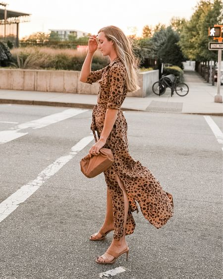 Animal print for a pop with this fall dress 🐅 The perfect fall date night outfit, or style it into holiday season with tall boots. Wearing size XS (wish I had S as the sleeves are a little tight at the wrists). Heels are sold out in nude but run true to size. Amazon bag is a low-cost dupe for the popular Bottega Veteta mini pouch.  Two similar, in stock leopard dresses linked.  #falldress #falldatenightoutfit #falldatenight #fallmaxidress  #LTKSeasonal
