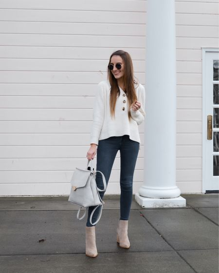 Madewell button sweater under $60 linked. Linked similar styles to my Vici backpack/purse. Also linked Marc fisher ankle booties and ray ban hexagon sunglasses http://liketk.it/35vMZ @liketoknow.it #liketkit #LTKshoecrush #LTKstyletip #LTKsalealert
