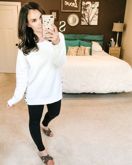 Side snap sweatshirts are my jam!! Also these high waist leggings are lived in around here! It makes me feel a little better to dress this loungewear up with a little leopard knotted now sandal! http://liketk.it/2Nkvy #liketkit @liketoknow.it #LTKsalealert #StayHomeWithLTK Download the LIKEtoKNOW.it shopping app to shop this pic via screenshot #LTKhome