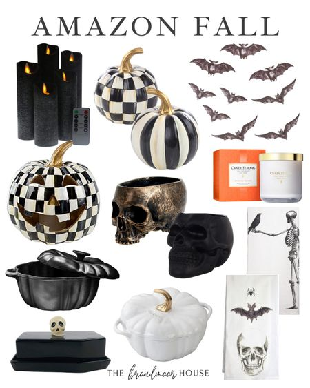 I love these Amazon Halloween Finds! They are the perfect addition to your fall decor!   Bats, black candles, black Decor, seasonal Decor, fall decorations, black-and-white decor, pumpkin Dutch oven, pumpkin Kitchen Decor, black decor, white Decor, black kitchen, white kitchen, skeleton, orange candle, orange decor, flower pot, shelf decor,  #LTKSeasonal #LTKstyletip #LTKhome