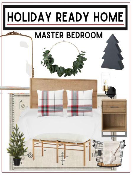 Master bedroom refresh - just because, or to get ready for the holidays!           Master bedroom , bedroom decor , holiday decor , bedroom decor , master bedroom decor , Christmas decor , Christmas decorations , nightstand , bed frame , Anthropologie mirror , floor mirror, target style , target Christmas , Christmas tree , target home decor , throw blanket , home decor , home furnishings #ltkstyletip #ltkunder100 #ltkunder50  #LTKhome #LTKHoliday #LTKSeasonal