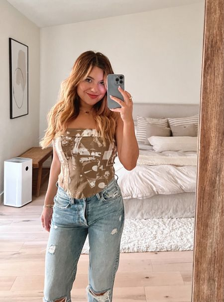 Trying on some new things and I'm thinking yay on this print corset🤎🤍 linked similar ones on my @shop.LTK (linked in bio)  #LTKfit #LTKstyletip #LTKunder50