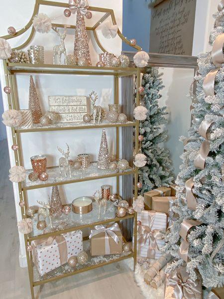 http://liketk.it/32SMN  Gold Bookcase  Wrapping Paper Christmas Ribbon Flocked Tree  Christmas Decor   #liketkit #StayHomeWithLTK #LTKhome @liketoknow.it @liketoknow.it.home
