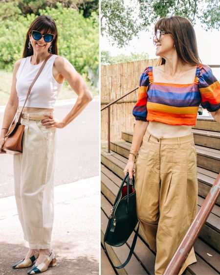 Crop chef, crop drawer, crop dead gorgeous, ZZ Crop ( I live in Texas so I had to throw in that last one!). If you saw my previous post, you know that I am talking about my love of crop tops and puns. I am partly blaming @shop.ltk and the crop it like it's hot email, but my blog name is fashionating, so there's that!  . No summer wardrobe would be complete without crop tops, both basic and statement. They can be worn with shorts, skirts, and jeans, but I love pairing a fitted crop top with wide leg trousers.  . .  Follow me on the LIKEtoKNOW.it shopping app to get the product details for this look and others http://liketk.it/3jNTq #liketkit @liketoknow.it #LTKunder100 #LTKunder50 #LTKstyletip #LTKsummer