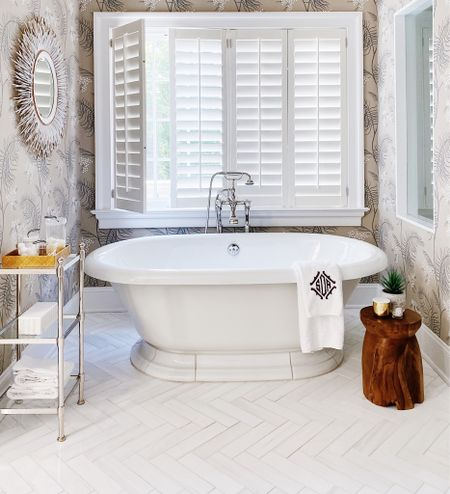Primary bathroom decor and wallpaper bathroom decor ideas.   #LTKhome #LTKstyletip #LTKunder100