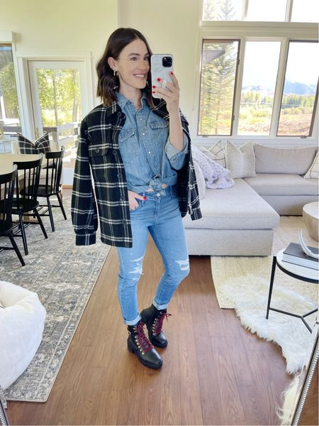 F A S H I O N \ Canadian tuxedo paired with a #shacket and A-maxing hiker booties!!💯 ALL great deals!!  Sizing👇🏻 Denim top - M Jeans - 27 Boots - run big, half size down Shacket - M   #walmart #walmartfashion #fall #fallfashion #falloutfit   #LTKSeasonal #LTKunder50