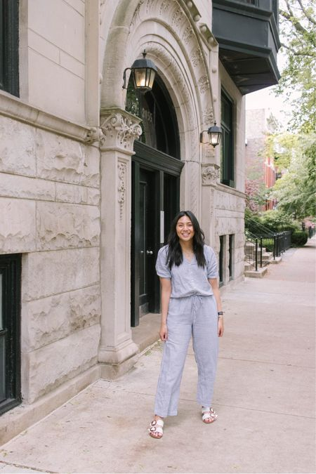 Love this affordable linen jumpsuit. It is an amazon find / amazon fashion find. Fits true to size. I'm wearing a size 4 (I also wear size small). It's so comfortable and great outfit to wear to do errands.   #LTKbacktoschool #LTKunder50 #LTKunder100