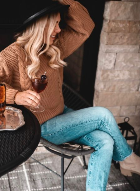 Cable knit sweater, Madewell jeans, tan boots, fall outfit  #LTKstyletip #LTKSeasonal #LTKshoecrush