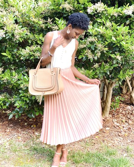 Pleated Skirt | pink skirt | midi skirt| front buttons | satin cami | summer wedge | faux leather | cute bag | spring look | summer look | spring outfit | summer outfit http://liketk.it/2Q5R2 #liketkit @liketoknow.it #LTKDay #LTKstyletip @liketoknow.it.brasil @liketoknow.it.family @liketoknow.it.europe @liketoknow.it.home #LTKitbag