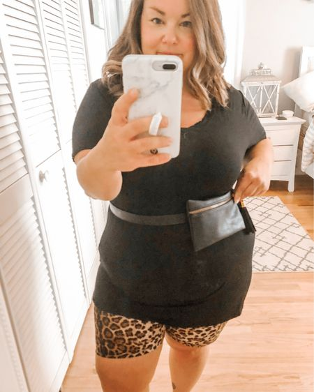 Different ways to style your belt bag - paired with leopard bike shorts and a black top   http://liketk.it/2UjQR #liketkit   @liketoknow.it   #LTKstyletip #LTKunder100 #LTKunder50