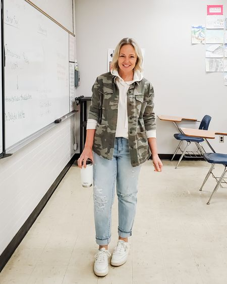 Casual everyday spring teacher weekend outfit featuring a waffle knit pullover hoodie, camo shirt jacket, distressed straight loose jeans, and Reebok Classic Club C vintage white sneakers #teacher #weekend #casual #sneakers #reebokclassics #camo #jeansoutfit #distressedjeans #straightjeans #whitesneakers #waffleknit #hoodie #petite #Lifestyle http://liketk.it/3drfP @liketoknow.it #liketkit