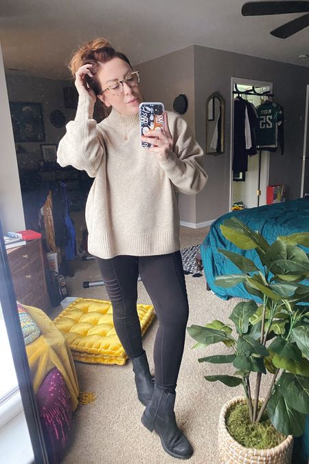 http://liketk.it/3888I Snow Day ❄️ Cozy Sweater - I sized up to a Large because I like big sweaters. This one is super soft. Paired with moto leggings (Old Navy - last year), super cute Clark's boots, multi-strand necklace and my favorite glasses from #Zenni optical. #liketkit @liketoknow.it #LTKSeasonal #snowday #comfy #casual