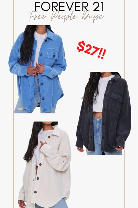 Forever 21 free people shacket dupe!!! On sale for $27!! http://liketk.it/3hXt5 @liketoknow.it #liketkit