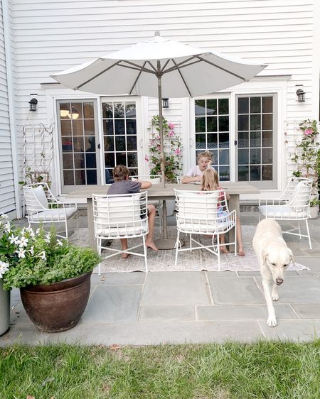 Summer nights, outdoor eating, family dinners, summer dinners, patio set, outdoor dining room set, Cb2, outdoor chairs, world market, modern outdoor set, outdoor umbrella, outdoor rug  http://liketk.it/3e6jj #liketkit @liketoknow.it #LTKhome @liketoknow.it.home