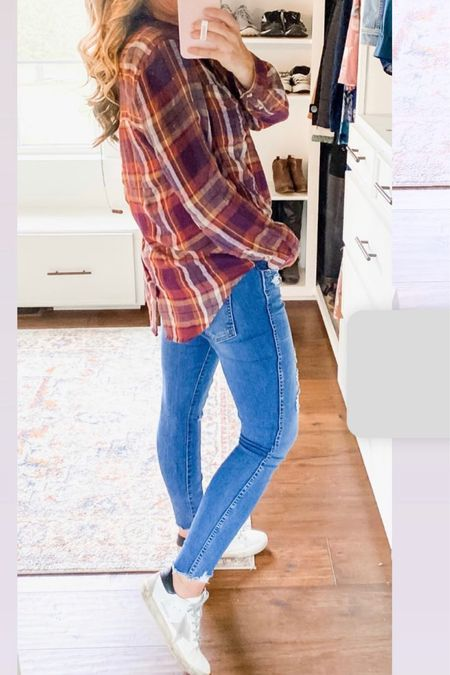 Outfit of the day fall outfits plaid button down tunic high rise distressed button fly skinny jeans pumpkin patch outfit and attire mom clothes try on kut from the kloth  #LTKshoecrush #LTKstyletip #LTKSeasonal