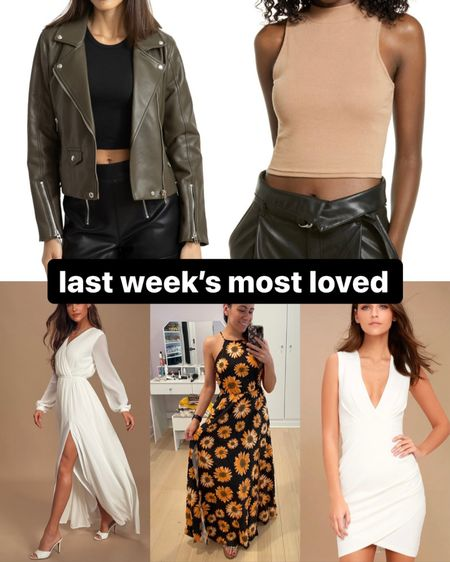 Last week's most loved in clothing: • my new olive green faux leather jacket from the Nordstrom anniversary sale • my new tan cropped tank, also from the Nordstrom sale • a pretty white maxi dress with flowy sleeves and skirt from lulus  • my sunflower maxi dress from shein that's only $20 • another pretty white dress, this one a cocktail dress with a deep v neck   #LTKSeasonal #LTKunder50 #LTKwedding