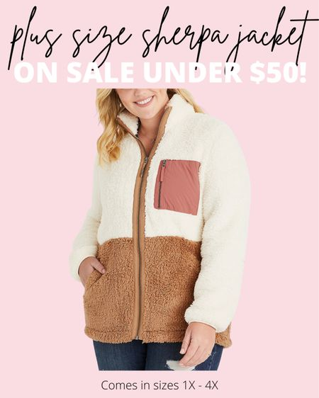 So excited for this plus size fashion find for fall! How adorable is this plus size sherpa jacket?! Today it's on sale under $50 and comes up to a size 4X. This will be darling in any plus size casual fall outfit!  #LTKunder50 #LTKcurves #LTKSeasonal