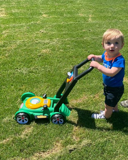 Outdoor fun keeping up with dad! Our baby boy loves his lawn mower! He hasn't taken any steps yet, but this mower encourages him to stand on his own! #LTKbaby #LTKkids #LTKunder50 http://liketk.it/3gH4t #liketkit @liketoknow.it