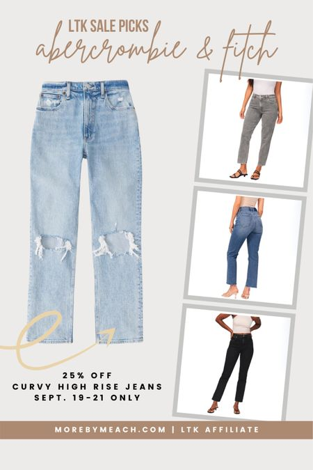 These high rise jeans / 90s jeans from Abercrombie are on sale! They're some of my favorite curvy fit jeans on the market and they come in several lengths. Click to shop! || black jeans, gray jeans, grey jeans, short jeans, long jeans, petite jeans   #LTKSale #LTKSeasonal #LTKunder100