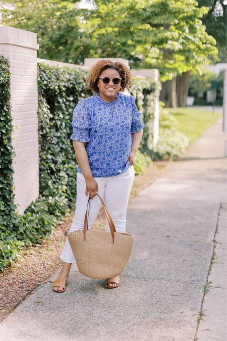 I am SOOO here for this puff sleeve trend!!!!! I love this pattern, too!  This shirt fits TTS. 💙 #liketkit @liketoknow.it http://liketk.it/3h0wt You can instantly shop my looks by following me on the LIKEtoKNOW.it shopping app