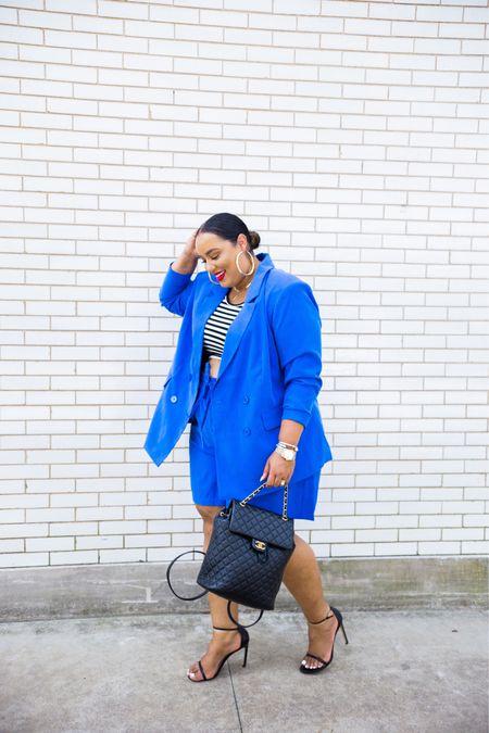 Wear a crop top to work because it's a 3day weekend🙌🏽 #blue #workwear #eloquii #short #suit  #LTKcurves #LTKworkwear #LTKitbag