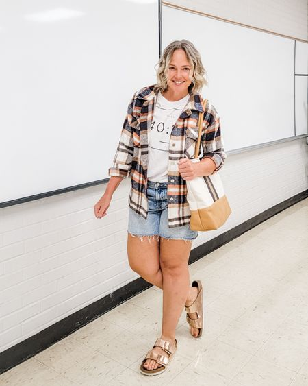Casual everyday fall teacher mom weekend outfit featuring a flannel plaid shacket, cutoff denim shorts, and a faith Christian graphic tee plus rose gold copper Birkenstocks #shacket #teacher #mom #fall #flannel #plaid #denim #Birkenstocks #Petite http://liketk.it/3lTzA @liketoknow.it #liketkit