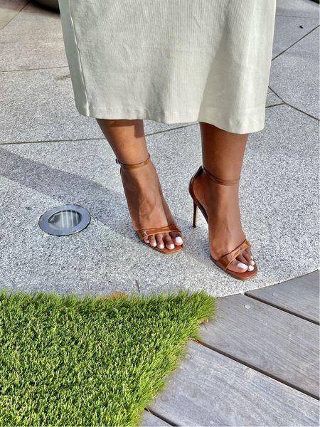 A sexy summer sandal nude brown strap stiletto sandal #stevemadden #summersandal  #LTKunder100 #LTKSeasonal #LTKshoecrush