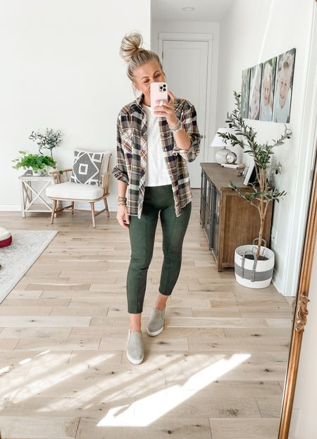 Spanx faux suede leggings! Wearing medium. These come in 4 colors. Perfect with a plaid top and sneakers for fall!   Use SARAHJOYxSPANX for 10% off and free shipping 🙌🏻  #LTKunder100 #LTKstyletip #LTKSeasonal