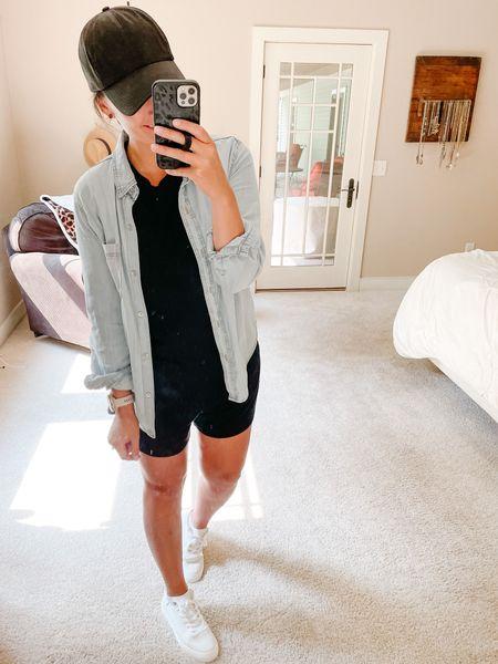 Go to summer outfit!!  #linenblendshorts #loungeshorts #perfecttank #blacktank #whitetank #whitesneakers #whitetennisshoes #chambrayshirt #layeredlook