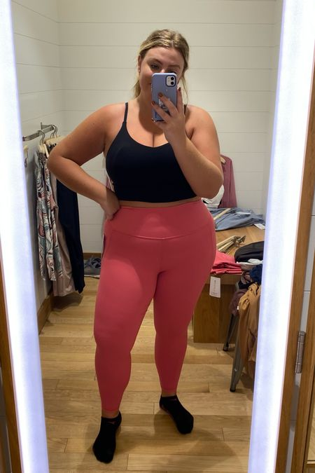 Wearing xl in sports bra and l in pink leggings    #LTKcurves #LTKfit