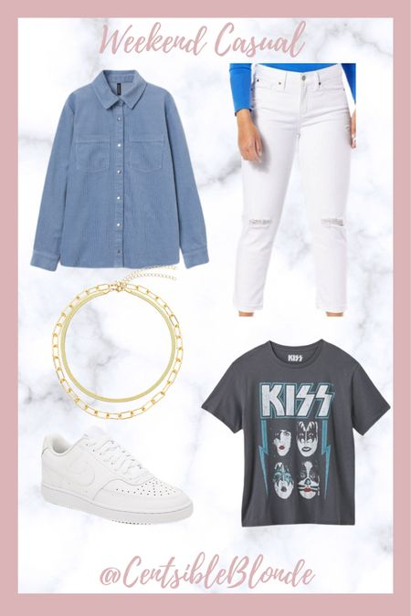Weekend casual outfit, band tee, graphic tee, white jeans, nike sneakers, white sneakers, corduroy shirt, gold necklaces, chain necklace.   http://liketk.it/3ixqp #liketkit @liketoknow.it #LTKtravel #LTKshoecrush #LTKunder100
