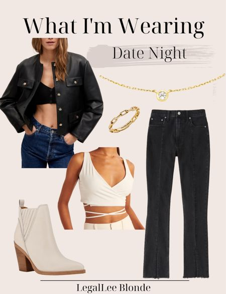 Date night outfit! Perfect chic fall outfit - the faux leather blazer is an elevated take on the classic leather jacket!  - high rise skinny jeans - ankle boots - hera ring - pendant necklace   #LTKunder100 #LTKstyletip #LTKSeasonal