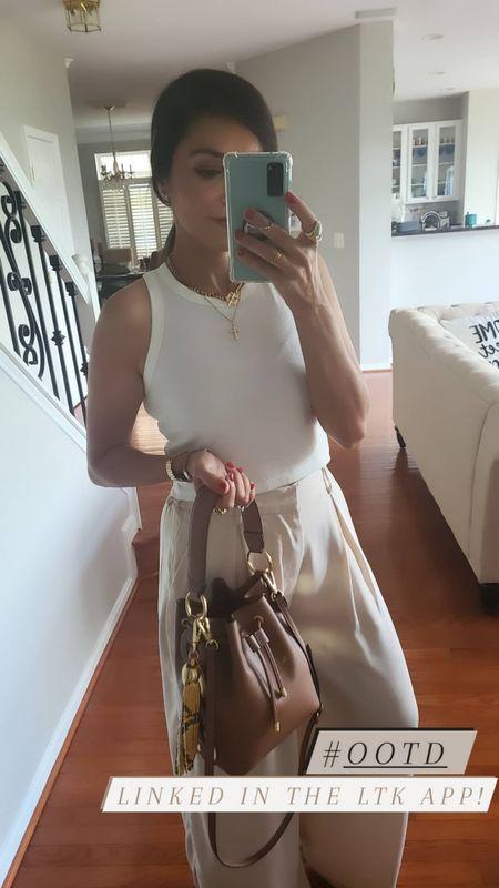 White top with beige slacks. Bucket bag. Size small. All from Amazon Prime! http://liketk.it/3fVrx @liketoknow.it #liketkit