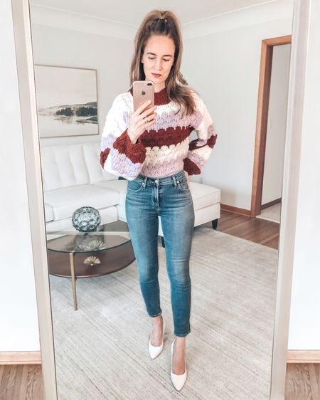 DEAL ALERT: This striped sweater is on sale for under $40 - with free shipping both ways!  It is super comfy - and I love the colors.  I have styled it with my skinny jeans and white heels. . . SHOP MY LOOK: 1️⃣ Use this link: http://liketk.it/37uC8  2️⃣ Download and follow me (@dailystylefinds) on the FREE @liketoknow.it app 3️⃣ Screenshot this photo 4️⃣ Click the link in my profile . . #styleover40 #fashionmoment #mystylediary #fashiondaily #stylebyme #stylefiles #over40blogger #styletrends #whatstrending #whatiworetoday #whowhatwearing #styleadvice #bbdakota #getthelook #ontrend #styleinfluencer #everydaystyle #todaysoutfit #whiteheels #stripedsweater #liketkit