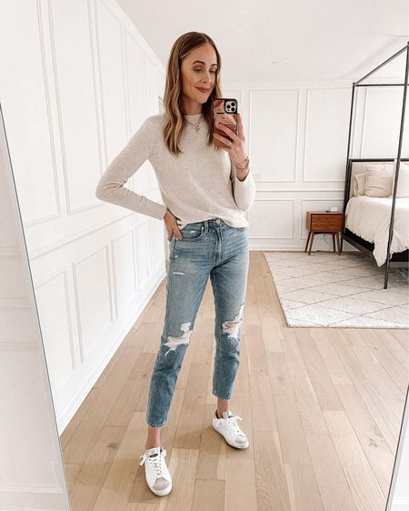 Today's daily look! Wearing my Vince cashmere blend sweater from the #nsale a pair of ripped jeans from Shopbop and my white sam Edelman sneakers that are on sale!   #LTKunder50 #LTKunder100 #LTKsalealert