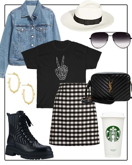 Fall outfit idea- graphic tee and Buffalo plaid skirt.   #LTKSeasonal #LTKshoecrush #LTKunder50