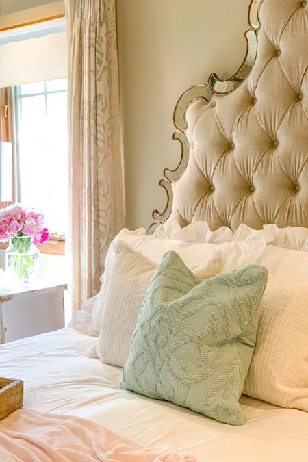 Romantic Bedding pieces at an amazing price point!🙌  White Ruffled Duvet Set, with textured throw pillows look beautiful with a Tufted Linen headboard.   Shop my daily looks by following me on the LIKEtoKNOW.it shopping app    http://liketk.it/3j4sM   #LTKunder50 #LTKunder100 #liketkit @liketoknow.it @liketoknow.it.home #LTKhome