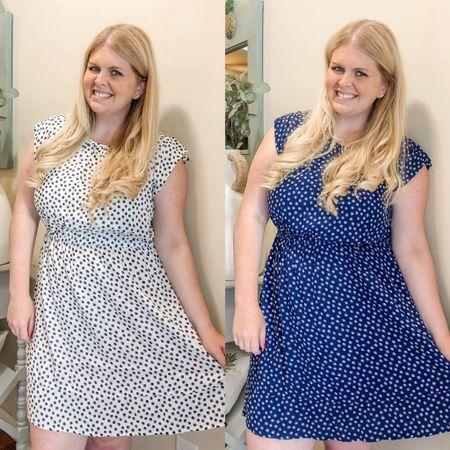 So nice I bought it twice! Blue and white polka dot dress. White and black polka dot dress. http://liketk.it/3jwvh #liketkit @liketoknow.it #LTKunder50 Walmart finds, free assembly #LTKworkwear