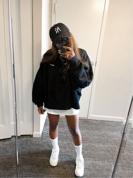 Linking my tennis skirt and some affordable Amazon options also linking my Nike sweatshirt socks and white sneakers! Necklaces are Amazon under $15 and hat is under $30   #LTKsalealert #LTKunder50 #LTKstyletip