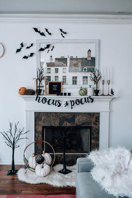 Halloween decor, Halloween mantel, Halloween decorations, cute Halloween home decor, #homedecor #halloweendecor   #LTKhome #LTKSeasonal #LTKunder50