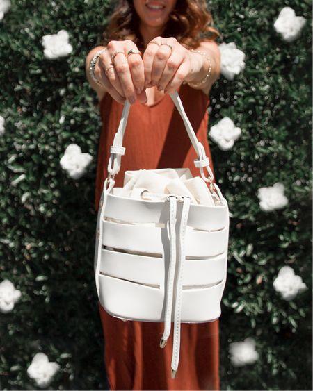 Burnt orange gauze maxi dress linked 🧡  Similar bucket bags linked! 🤍  #LTKSeasonal #LTKitbag #LTKunder100