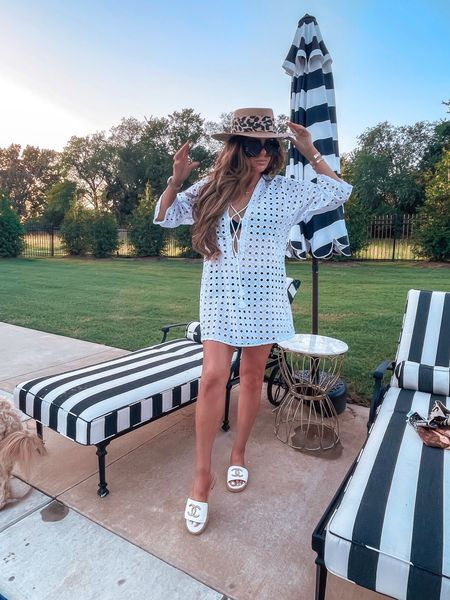 End of summer, summer outfit ideas, white lace cover up, straw hat, Dior Twilly hat, how to style summer hat, Chanel slide sandals, black swimsuit, resort wear, what to wear on vacation, Nordstrom outfit ideas, Emily Ann Gemma http://liketk.it/3mpm5   #LTKtravel #LTKswim #LTKstyletip