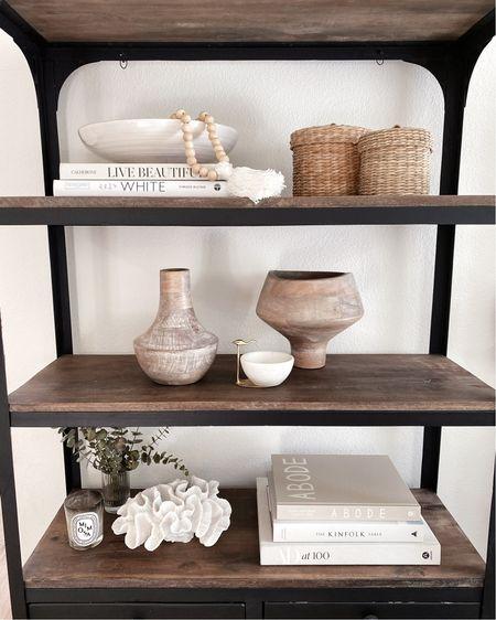 Shelf styling, shelf decor, neutral home decor, accessories, StylinAylinHome   #LTKstyletip #LTKunder100 #LTKhome
